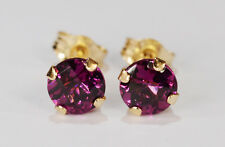 BEENJEWELED GENUINE NATURAL MINED RHODOLITE GARNET EARRINGS~14 KT YLW GOLD~5MM