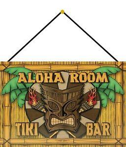 Aloha Room Tiki Bar Blechschild Schild mit Kordel Tin Sign 20 x 30 cm FA1009-K