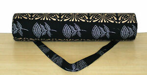 Block Print Black Gold And Silver Yoga Mat Carrier Bag Gym Exercise Large Bags