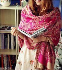 New Women's Fashion Warm 100% Cashmere Floral Pashmina Shawl Wrap Scarf Scarves