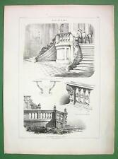 ITALY Naples Milan Architectural Balustrades - Antique Print