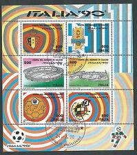 1990 ITALIA USATO FOGLIETTO MONDIALE CALCIO 800 LIRE ANNULLO PRIMO GIORNO - OL