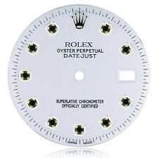 Custom Rolex Dial White Genuine Black Diamond Markers for Datejust 1601