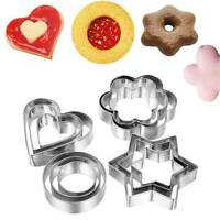 5pcs/set Round/Heart/Flower/Star Cookie Biscuit Cutter Pastry Baking Cake Mold