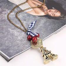 Vintage Bronze Paris Eiffel Tower Red Grapes Number Long Chain Pendant Necklace
