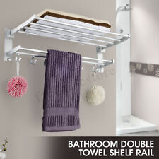 New Wall Mounted Bathroom Towel Rail Holder Storage Home Double Rack Shelf