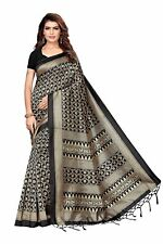 Indian Women's Mysore Silk Printed Saree With Blouse Piece_Free Size