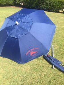 Tommy Bahama Relax 7' Groundbreaker Tilting Beach Umbrella Blue Red Adjustable