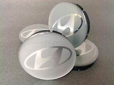 HYUNDAI 4pcs Plastic Wheel Centre Caps with Silicone Emblem 60mm/55mm NEW
