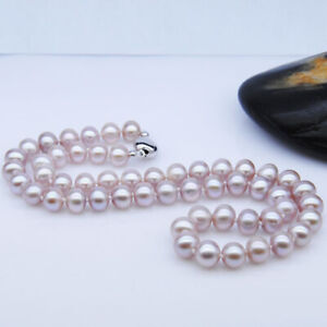 """Good Luster 8-9mm Natural purple Necklace Genuine freshwater pearl necklace 17"""""""