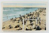 Postcard Bathers at Miami Beach Florida Ocean Waves