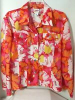 Ruby Rd. Favorites Top Red Pink Orange Multi Semi Sheer Roll Tab Sleeve Sz 16