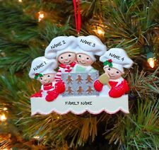 Baking Cookies Family of 4 Personalized Christmas Tree Ornaments