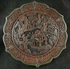 "Antique Chinese Carved Red Cinnabar 9"" Plate. Village Scene, Qing Dynasty"