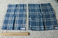 French 18thC Woven Country Farmhouse Indigo Linen Yarn Dye Fabric~2 Pieces