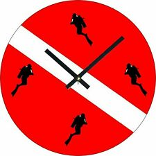 "Neat and Cool Scuba Diver Dive Flag Style 8"" Round Metal Wall Clock"