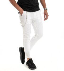 Pantalone Uomo Cotone Tinta Unita Bianco Slim Tasca America GIOSAL