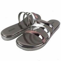 Michael Kors MK Sandals Keiko Gunmetal Silver Metallic Slides Szs
