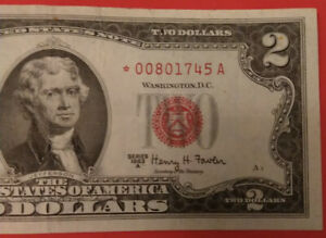 ⭐️$2 1963A⭐️LOW SERIAL NUMBER⭐️STAR  NOTE⭐️RED SEAL⭐️*00801745A⭐️