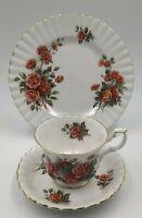 Royal Albert Centennial Rose Bone China Teacup Saucer & Dessert Plate Trio