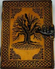 """5"""" x 7"""" Tree of Life Leather Journal Blank Book of Shadows w/Latch"""