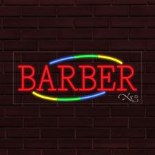 New Barber Withmulticolor Border 32x13x1 Inch Led Flex Indoor Sign 30739