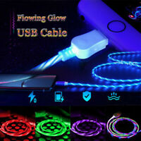 LED Light-up Flowing Glow USB Sync Cord Cable For Android Type C For Huawei