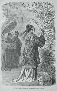 Silkworm EMPRESS SI-LING-CHI GATHER MULBERRY LEAVES Original Figuier Print c1872