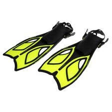 Adjustable Swim Flipper Open Heel Diving Fins, Adult Long Fins Yellow 44-48