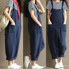 Women's Casual Loose Linen Pants Cotton Jumpsuit Strap Harem Trousers Overalls