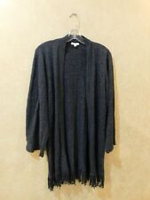 MINNIE ROSE Fringe Open Front 3/4 Sleeve Cardigan Sweater S ___________R7E2