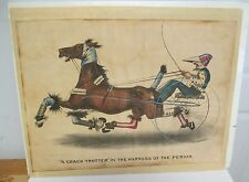 A CRACK TROTTER, 1875 Currier & Ives Original Hand-Colored Print