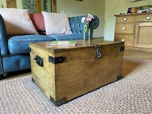 Old Wooden GPO CHEST, PINE Blanket TRUNK, Coffee TABLE, Vintage Storage Toy BOX