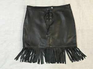 Maje black leather mini skirt fringe hem lace up detail rock hippie boho S