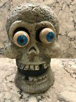 "Halloween Dynagood Copyright 2005 Plastic Mold SKULL HEAD Googly Spring Eyes 6"""