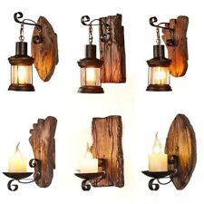Wooden Retro Wall Lamps Creative American Style Bar Cafe Restaurant Loft Lights