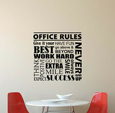 Office Rules Wall Decal Inspirational Quote Vinyl Sticker Work Poster Decor 603
