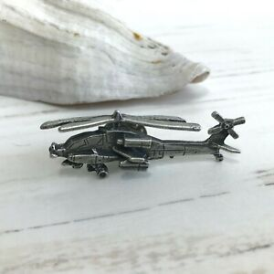 Handcrafted Pewter Helicopter Tie Tac Pin Joan Menter American Pewter Works
