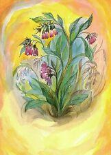 Jahreszeitentisch Kunstkarte Beinwell Wildkraut Wildkräuter Karte Wildblume neu