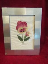 """Pre-owned Embroidered Silk Flower Picture - Poppies - silver colour frame - 9x7"""""""