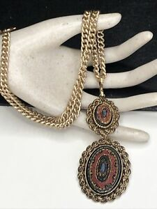 Vintage SARAH COVENTRY Colorful Mosaic Gold Tone Pendant Necklace Or Brooch Pin