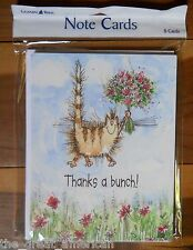 8 Leanin Tree Note Cards THANKS A BUNCH, CAT with Flowers, Margaret Sherry, USA