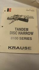 Kuhn Krause Owners Manual For 8100 Series Tandem Disc Harrow