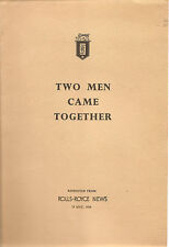 "Rolls Royce  Booklet  ""Two Men Came Together""  Reprint RR News 1954"