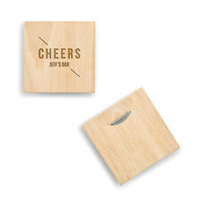 Personalized Cheers Natural Wood Coasters Groomsman Wedding Party Gift