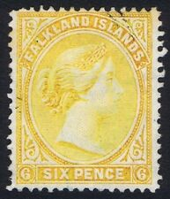 Falkland Islands 1891-1902 SG34 6d Yellow Very Fine Used Cat. £48.00