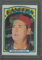 1972 TOPPS #510 TED WILLIAMS TEXAS RANGERS BK$12.00 Y