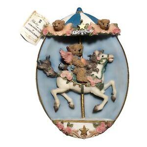 Crown Alabaster Art Sculpture European Vintage Certificate Handcraft Angel Bear