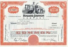 Howard Johnson Company Stock Certificate 1971