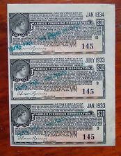 1933 FABRICS FINISHING CORP 3 $30 BONDS STOCKS CERTIFICATES